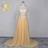 Elie Saab Style Formal Women Scoop Neck Prom Dresses Long Sleeve Sequins Prom Gowns Cheap Free