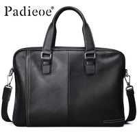 Padieoe Business Men S Briefcase Genuine Cow Leather Luxury Top Handle Bag For Male Fashion Laptop