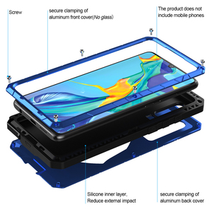 Image 2 - עבור Huawei P30 P30 פרו טלפון מקרה קשה אלומיניום מתכת מזג זכוכית מסך מגן כיסוי עבור Huawei P30 Lite מלא כיסוי
