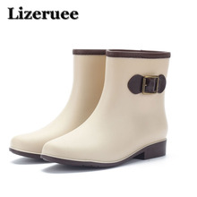 PVC Rubber Rainboots Woman Glossy Solid Color Autumn  Female Waterproof Rain Boots Casual Shoes Thick Heel Rainboots Lady KS330 pvc leopard women rain boots female waterproof rainboots rubber shoes kawaihae brand knight riding boots