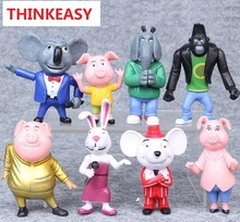 8Pcs Sing Movie PVC Action My Figure Little Buster Moon Johnny Poni Dolls 7-10CM Meena Toys For Children Kids Gifts