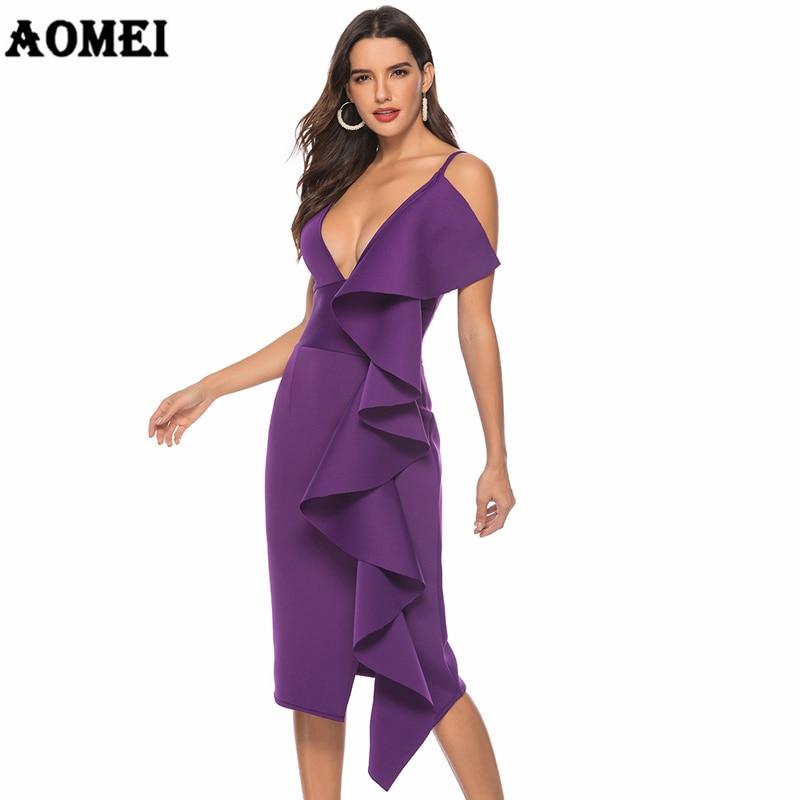 Women Dress Deep V Neck Evening Party Ruffles Sexy Dinner Clubwear Backless Ladies Slim Tunics Elegant Tight Spring 2019 Robes