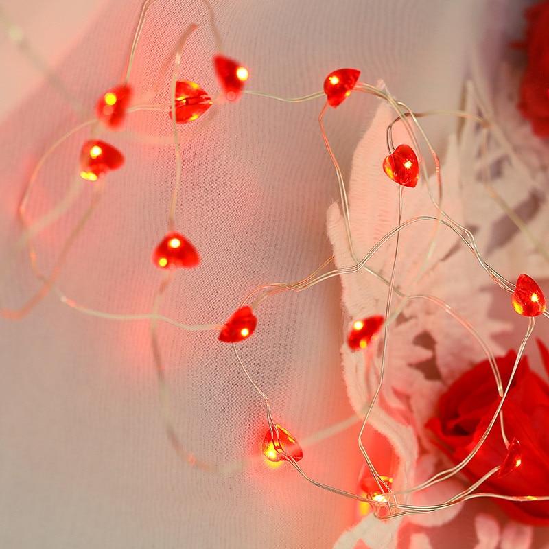 3m Red Love Heart Shape 30 LED Light Girl Room Home Decor ...
