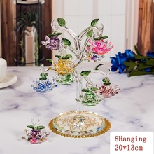 Transparent Chirstmas Tree Hanging Ornaments 60mm Crystal Glass Lotus Miniature Figurine Home Decorations Figurines Crafts Gifts