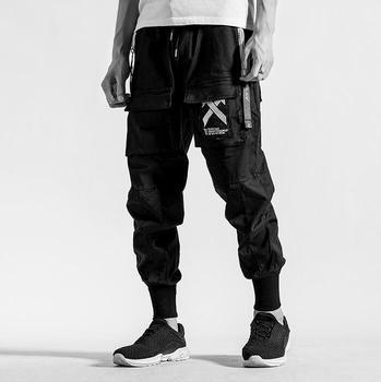Personality multi-pocket fashion harem pants mens trousers pantalones hombre cargo feet pants for men pantalon homme loose black