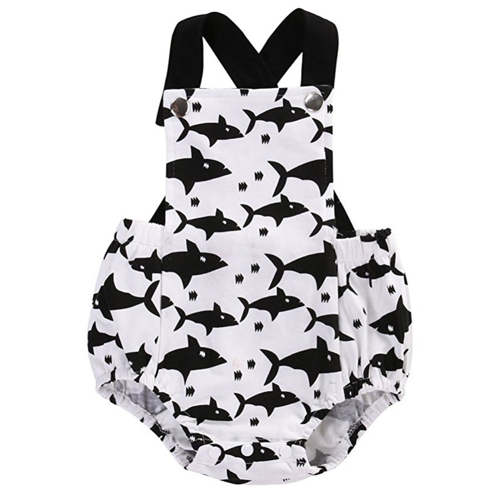 Newborn Baby Rompers Toddler Infant Girls Boy Shark Pattern One-Pieces Jumpsuit Clothes Outfits polka dot baby girls clothes backless flounced kid girls rompers jumpsuit playsuit one pieces outfits 0 18m blue pink purple