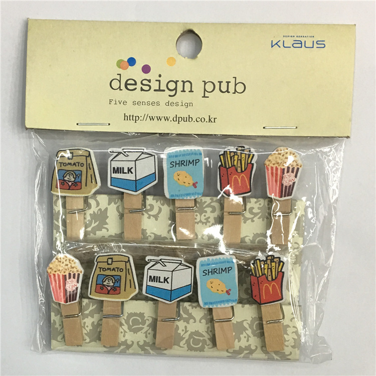 10pcs/lot French Fries Milk Wooden Clip Photo Paper Clothespin Craft Clips Party Decoration Clip With Hemp Rope Strong Packing Office & School Supplies