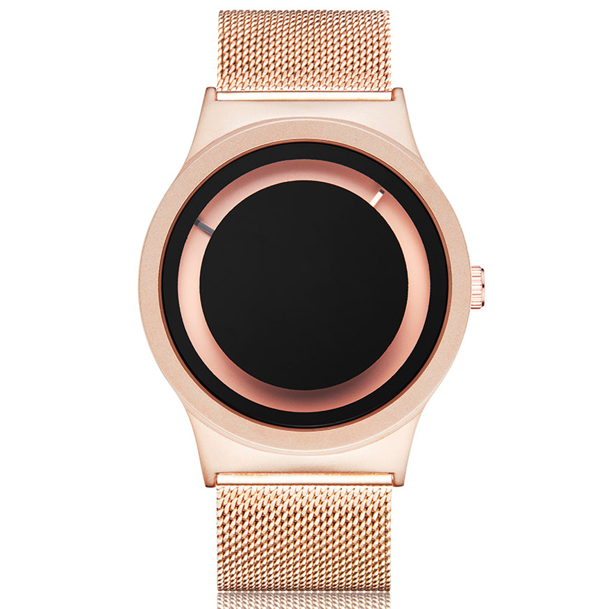 Creative Couple Watch Rose Gold Black Watches Men Women Unique Turntable Dial Wristwatch Casual Sport Steel Male Quartz Clock