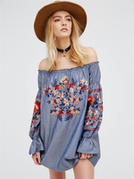 2019 Bohemian Dress Sexy Mini Pink Celebrity Backless Embroidery Women Lantern Sleeve Slash Neck Casual Loose Dresses Wholesale