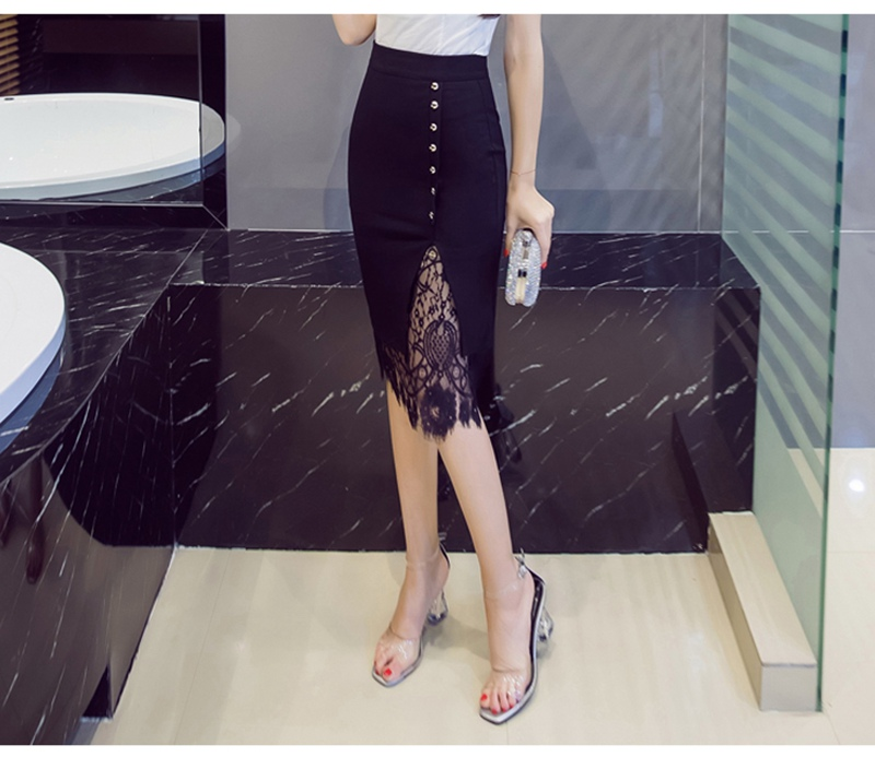 Women's Skirt High Waist Pencil Skirt Summer 2017 Fashion Women Knee Length Lace Patchwork Lady Formal Work Skirts Plus Size 7