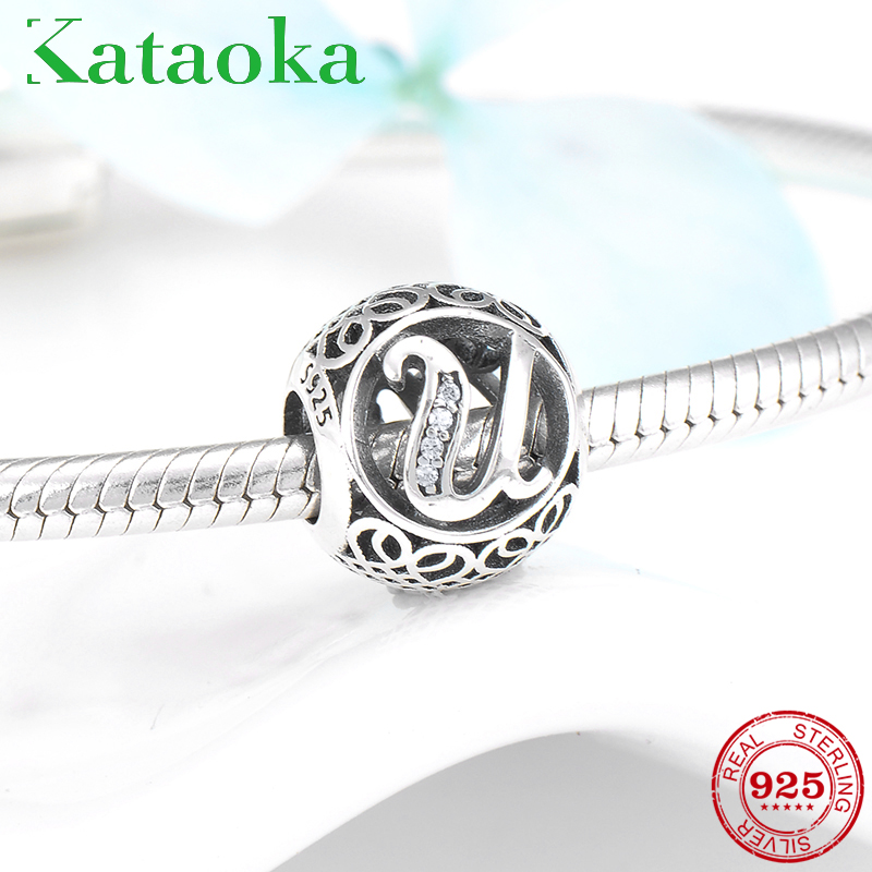 2019 New Style 100% 925 Sterling Silver Alphabet Love U Zircon Letter Bead Fit Original Pandora Charms Bracelets Jewelry Making Superior (In) Quality