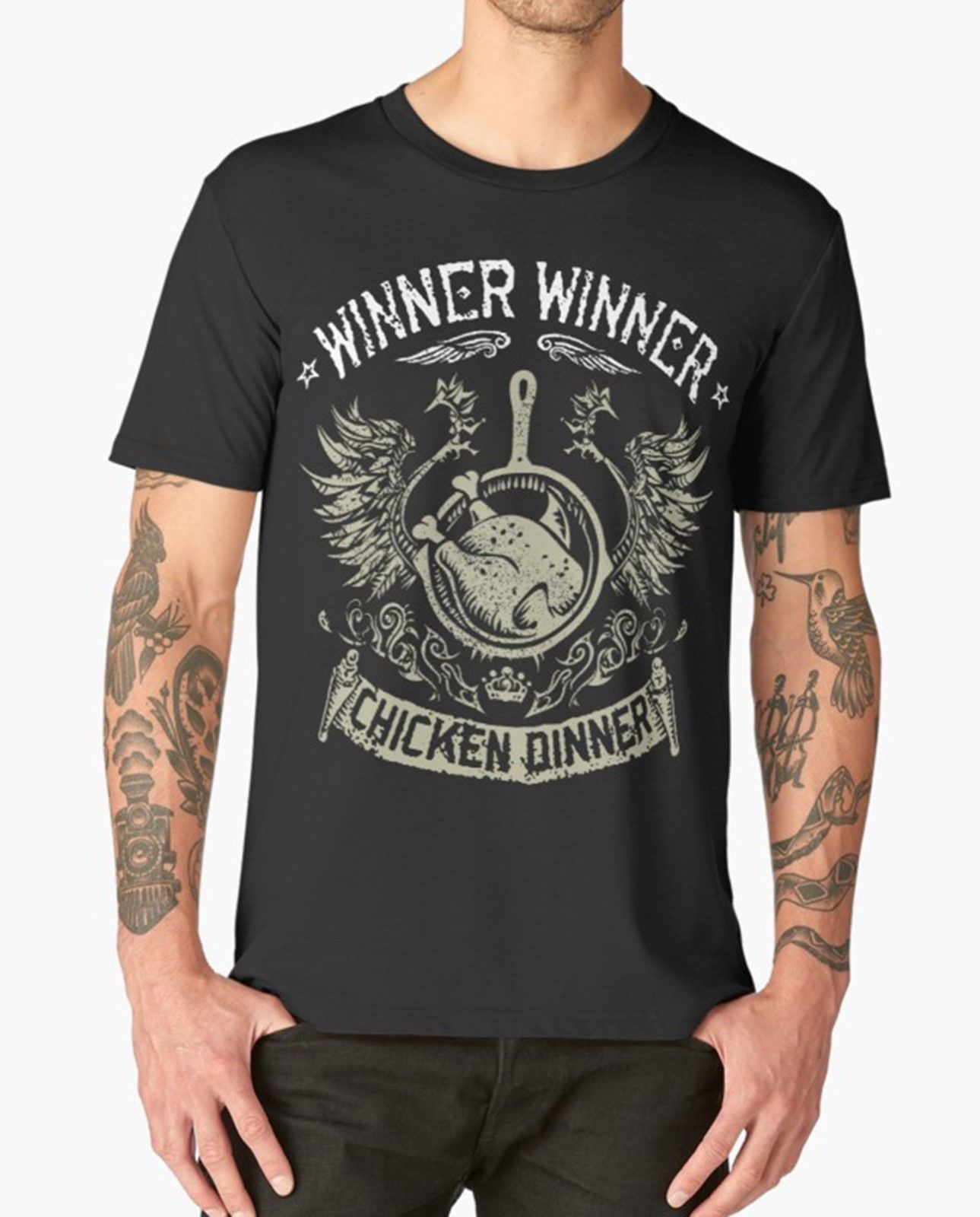 WINNER WINNER CHICKEN DINNER T SHIRT YES WE PAN GAMER GAME PS4 XBOX PUBG