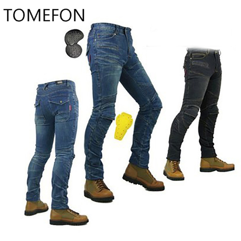 ФОТО TOMEFON 718 same model motorcycle men pants/off-road women trousers/outdoor men jeans/cycling have pads pants