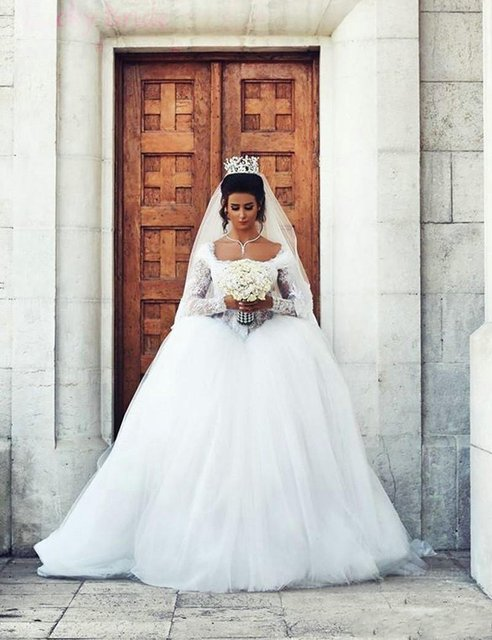 Long Sleeve Square Neck Lace Wedding Dresses 2017 Turkey Ball Gown ...