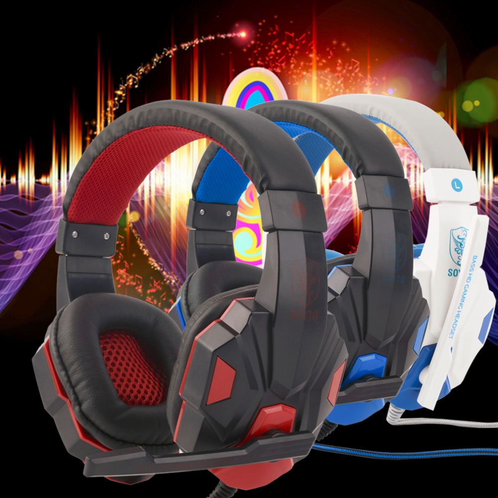 SY830MV Adjustable Length Hinges 3.5mm Surround Stereo Gaming Headset Headband Headphone with Mic for PC