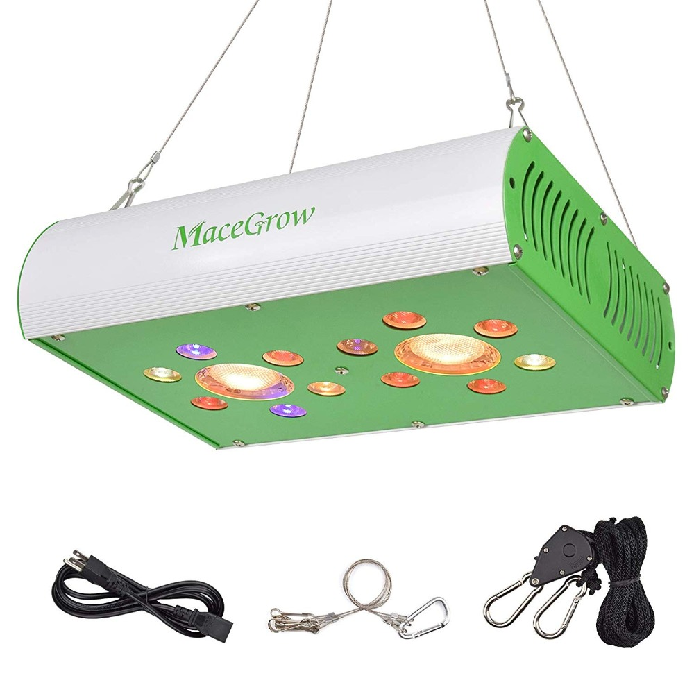 Macegrow 450W LED Grow Light Full Spectrum 3000K COBs And 3W Osram LEDs Inlucding UV And IR For Indoor Plants Daisy Chain