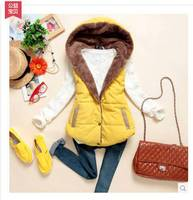 2014 Brand New Women Winter Warm Fur Vest Female Velvet  Down Cotton  Hooded Thick Casual Waistcoat  Outwear Plus Size S354