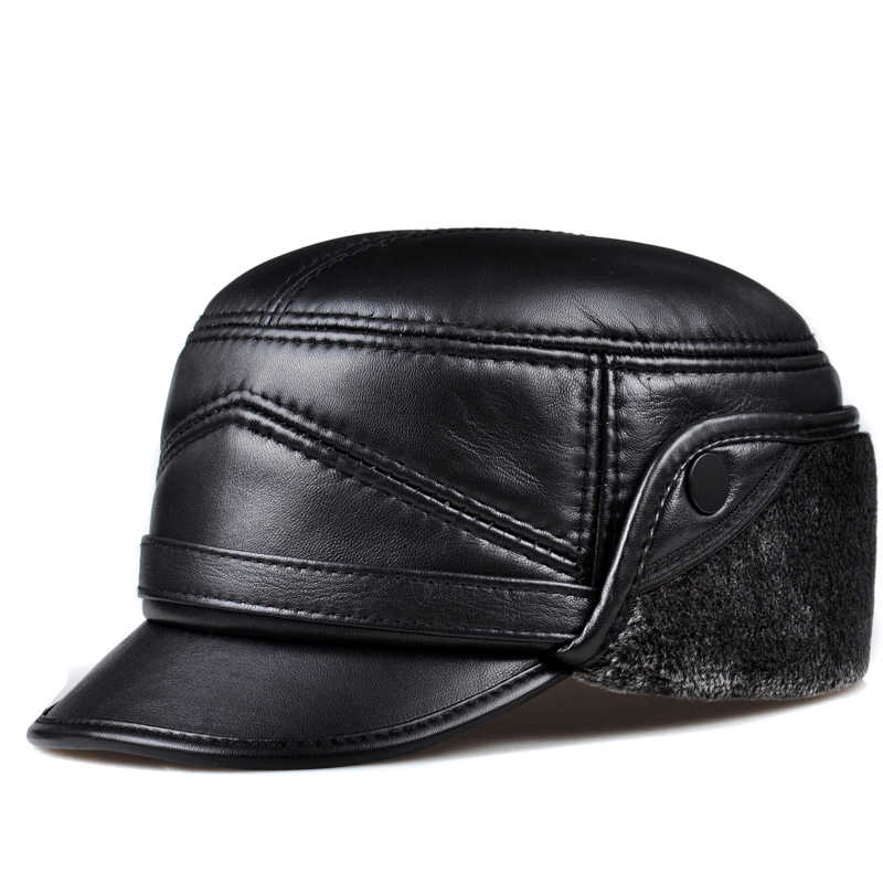 0d471dd267a Male Winter Genuine Leather Thicken Faux Fur Inside Head Warm Bomber Hat Man  Black Caps With