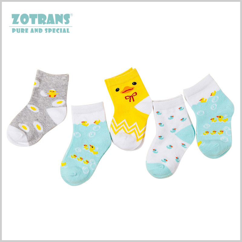 5 Pairs Baby Socks Yellow Duck Soft Inant Cotton Sock Spring Autumn Pink And Blue Sock Girl Boy For 0-3years