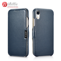 ICARER Luxury Curved Genuine Leather Metal Magnetic Flip Case For Apple iphone XR 6.1 Cover Shell Accessories Phone Cover Coque