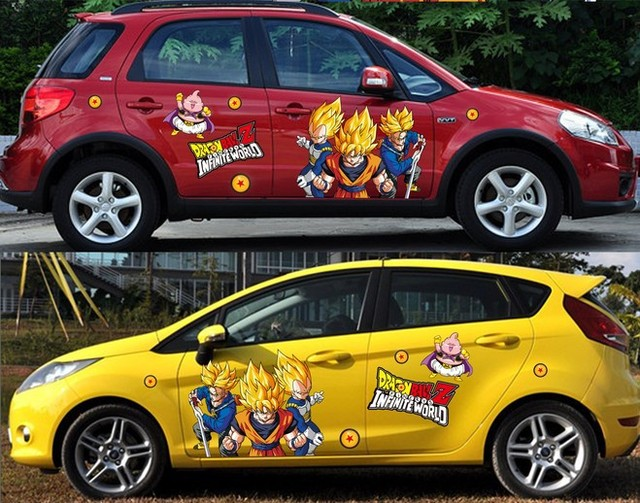 2 pieces custom hot anime car stickers dragon ball car stickers vinyl sticker
