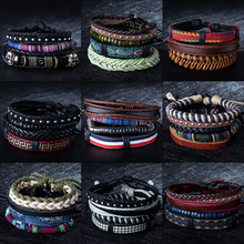 BOHO Tibet Metal Stone Beads Multilayer Leather Bracelet Bangles Chain&Link Charms Bracelets for Men Vintage Punk Wrap Wristband(China)