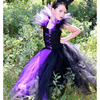 Children Dress Up Cosplay Purple And Black Fancy Girls Dresses Birthday Ball Gown Kids Halloween Witch