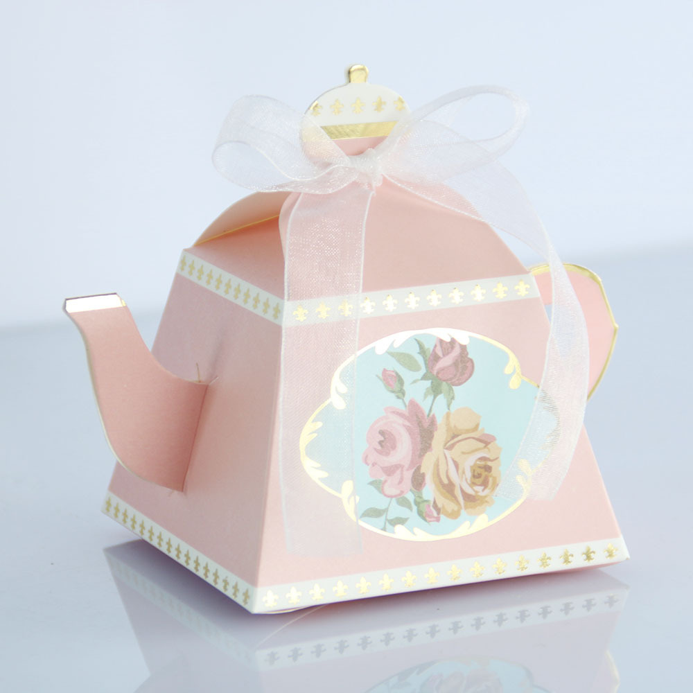 10pc Tiffany Pink Royal Teapot Paper Box Candy Box Gift Box With Ribbon Baby Shower Wedding Engagement Birthday Party Favors