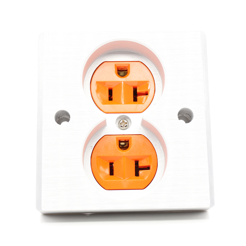 Free shipping 2pcs Orange High Quality Power US AC Power Receptacle Wall Outlet Copper Socket free shipping 2pcs black high quality power us ac power receptacle wall outlet copper socket