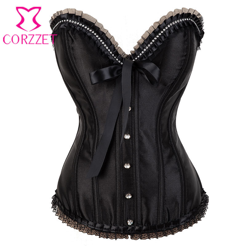 Victorian Lace and Rhinestone Corselet Overbust Black Satin   Bustier   Femme Sexy   Corset   Waist Trainer Burlesque Women Corpete