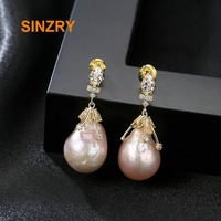 Sinzry Brand Baroque Oval Shape Natural Freshwater Pearls drop Earrings 925 sterling Silver elegant Fine Jewelry