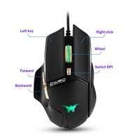 2017 High End 3800 DPI Wired Gaming Mouse Mice 6 Buttons Design Breathing LED Colors Ergonomic Souris for Gamer PC MAC
