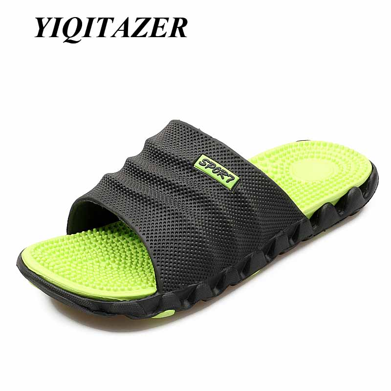 YIQITAZER 2017 New Summer Cool Water Flip Flops Men High quality Soft Massage Beach Slippers,Fashion Man Casual Shoes yiqitazer 2017 new summer fashion casual shoes men breathable cool lace up high quality man leather shoes size 7 9 5