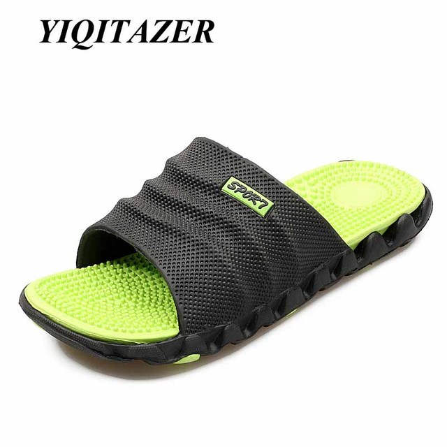 9d2039b504c414 YIQITAZER 2019 New Summer Cool Water Flip Flops Men High quality Soft  Massage Beach Slippers