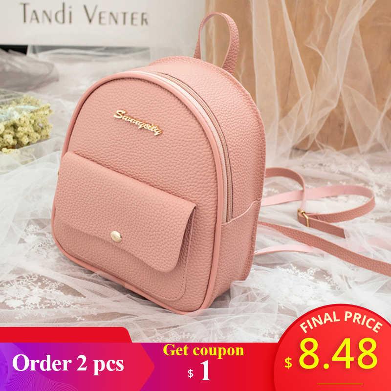 2019 Мини-рюкзак для женщин в Корейском стиле, сумка на плечо из искусственной кожи для девочек-подростков, Многофункциональный маленький рюкзак, Женский чехол для телефона
