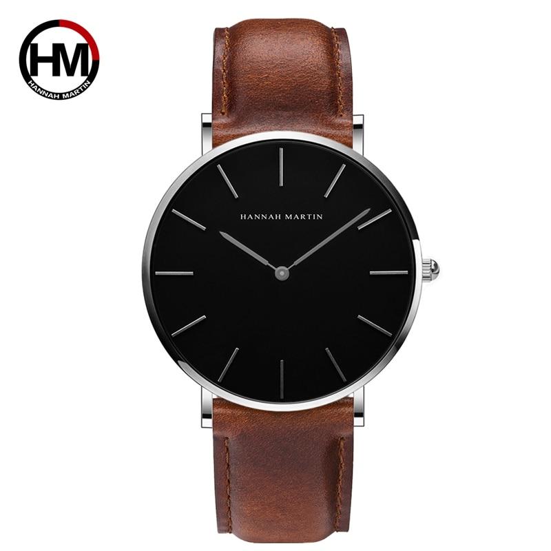 2018 HANNAH MARTIN Brand Fashion Simple Japan Quartz Movement Watch Leather Clock Women Analog Waterproof Wristwatch