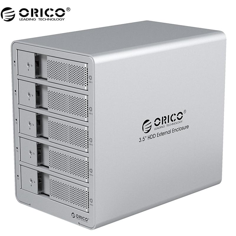 ORICO 9558U3-SV Tool Free Aluminum USB 3.0 5 bay 3.5-inch SATA Hard Drive Enclosure Support 5x 6TB Drive Free Ship- Silver orico 9528u3 usb3 0 to sata dual bay 3 5 external hard drive enclosure