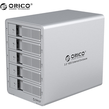 ORICO 9558U3-SV Herramienta Gratuita De Aluminio USB 3.0 5 bahía de 3.5 pulgadas Soporte 5×6 TB Disco Duro Sata Drive Envío Gratis-plata