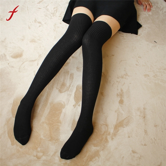 9157f1249b7 Hot Sale Keep Warm 1Pair Thigh High Socks Over Knee Stripe Girls Cotton  Socks Black White Women s Winter Soft Casual