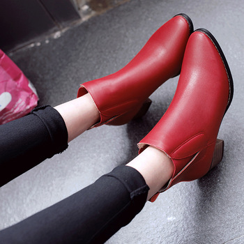 ZHENG PIN JIA REN Women's  Female Martin Boots Winter New Pointed Matte Leather Martin Boots with Short Boots