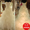Wholesale Price Robe de mariee 2016 Vintage Ruffles Bridal Gowns Sweetheart Lace Up Back women Wedding Dresses Vestido De Noiva