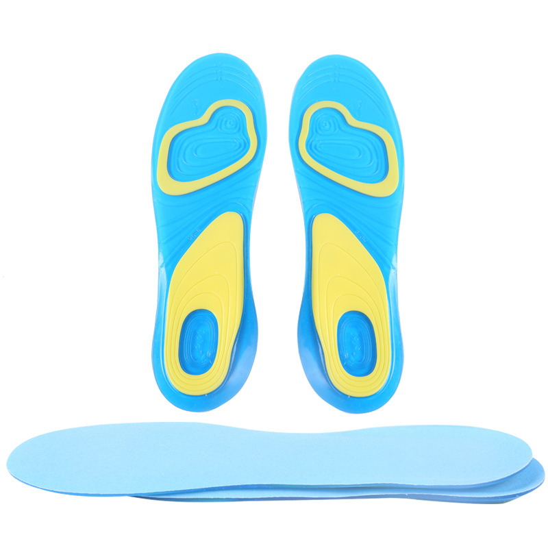 Silicone Insoles Elastic Damping Cushion Insole Health Men's Lady Pain Relief Military Soft Insole Foot Pad 2016