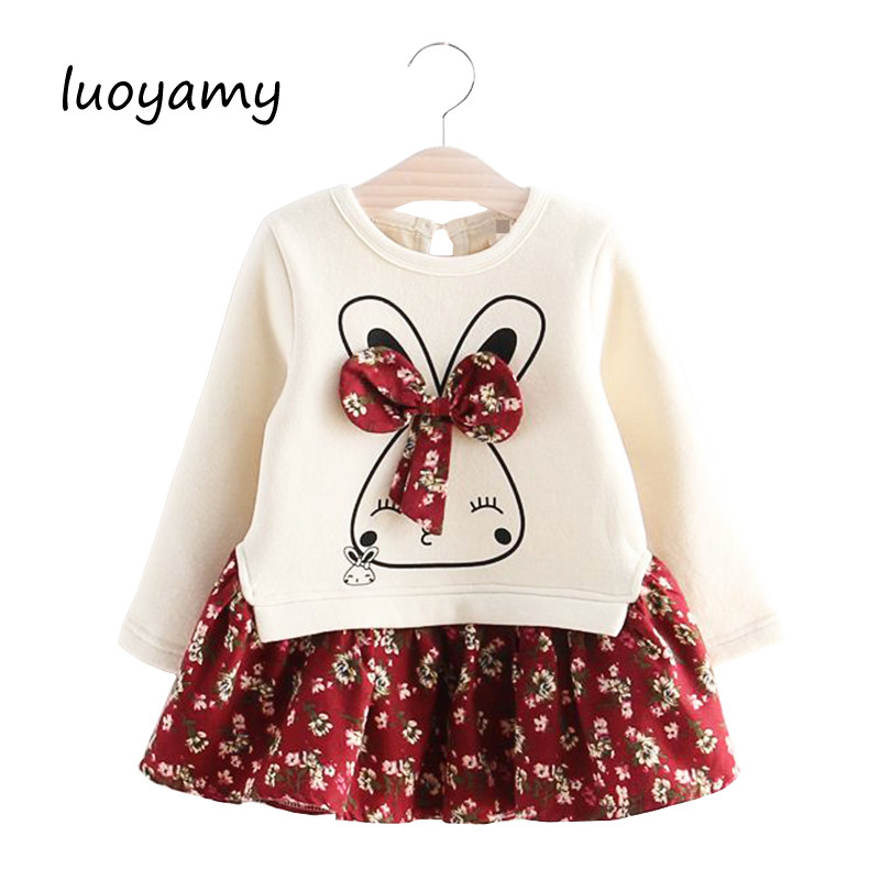 luoyamy Girls Cute Rabbit Long Sleeve Dress Flowers Printed 2018 Winter Autumn Baby Girl Thicker Princess Dresses luoyamy 2018 autumn winter cartoon letter embroidery sweatshirt girl fashion long hoodie dress pullover moletom feminina