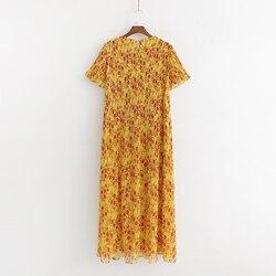 SheMujerSky kobiety żółty kwiatowy Midi sukienka plaży latem kobieta sukienka O-neck sukienka letnia 2