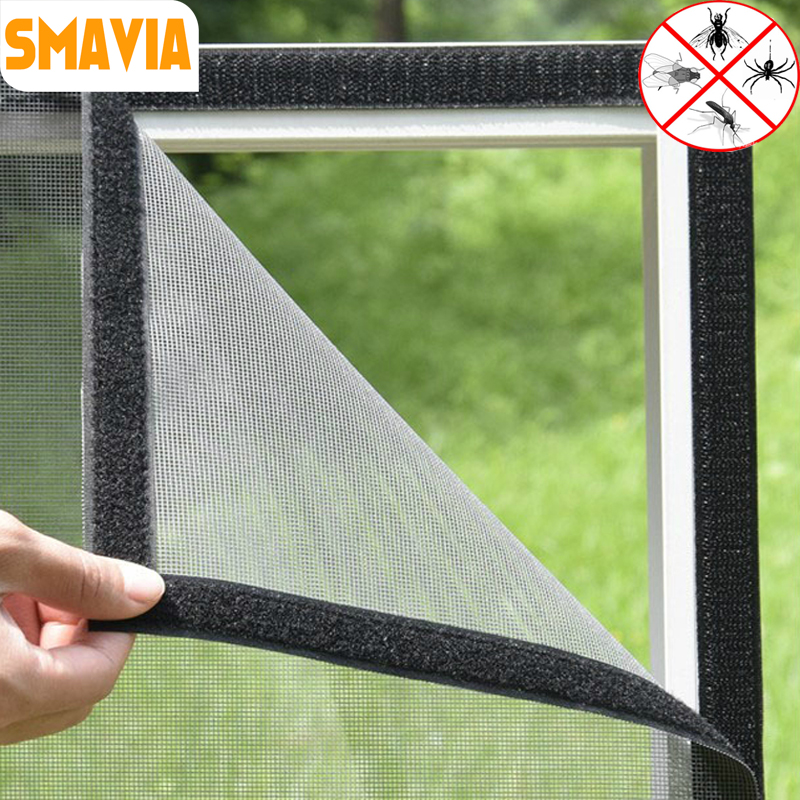 SMAVIA Hot Sale DIY Summer Anti-Mosquito Window Net Fiberglass Encryption Insect Mosquito Mesh Screen Fixed by Magic Sticker