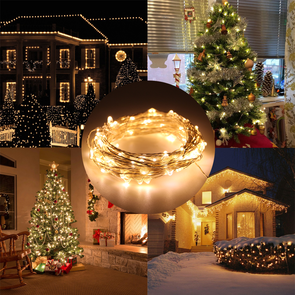 10m 33ft usb copper wire fairy string led light indoor outdoor christmas decoration lighting rf wireless remote controller in led string from lights - Outdoor Christmas Decorations Wire