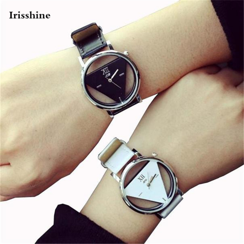 Irisshine I09 Unisex Couple Watches Men Women 2PCS Unique Hollowed-out Triangular Dial Black Fashion Watch Wholesale