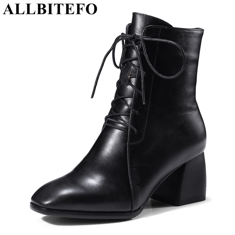 ALLBITEFO taille: 34-42 véritable cuir épais talon femmes bottines femmes chaussures à talons hauts hiver femmes bottes dames bottes femme
