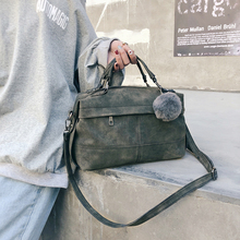 2019 новая сумка женская повседневная сумка-тоут женская большая сумка через плечо высокого качества замшевая кожаная сумка с меховым шариком