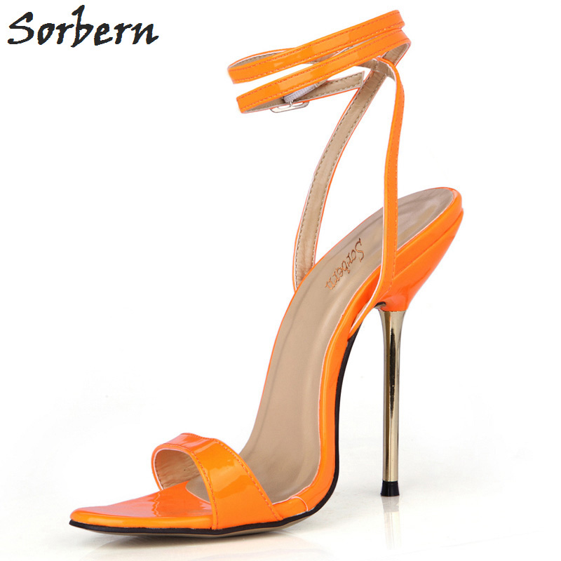 Sorbern Orange Shiny Summer Women Sandals Gold High Heels Shoes Ladies Trendy Women Shoes 2018 Summer Shoes Stilettos - 5